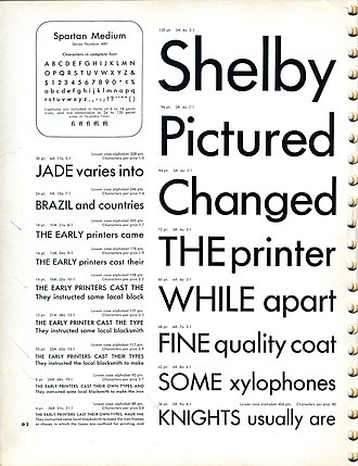Line length - Second page of the Spartan Type Specimen by American Type Founders (1953). The lower-case alphabet measurement for each of the sizes displayed on this page can be found on the left column.