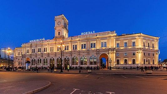 Building of Moskovsky Railway Station (built by Konstantin Thon in 1851) in Saint Petersburg, Russia
