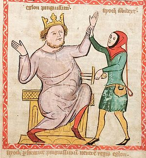 Eglon (king) - Depiction of the assassination of King Eglon by Israelite Judge Ehud, Speculum Humanae Salvationis, 1360.