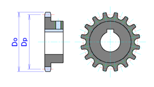 Sprocket - 16 tooth sprocket. Do = Sprocket diameter. Dp = Pitch diameter