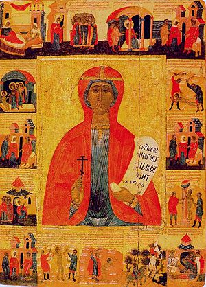 Paraskevi of Iconium - Scenes from the Life of St. Paraskeva. Russian icon.