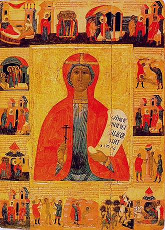 October 28 (Eastern Orthodox liturgics) - Image: St. Paraskeva, with Scenes from Her Life Tver school