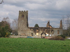 Radford Semele - St Nicholas Church following fire of 2008