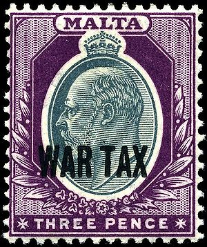 1918 Maltese war tax overprint