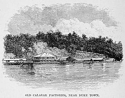 "Picture of Old Calabar Factories from HM Stanley's book ""The Congo and the founding of its free state; a story of work and exploration (1885)"""