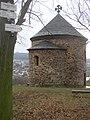 Stary Plzenec CZ Rotunda of St Peter from NNE with Radyne Castle on horizorn 117.jpg