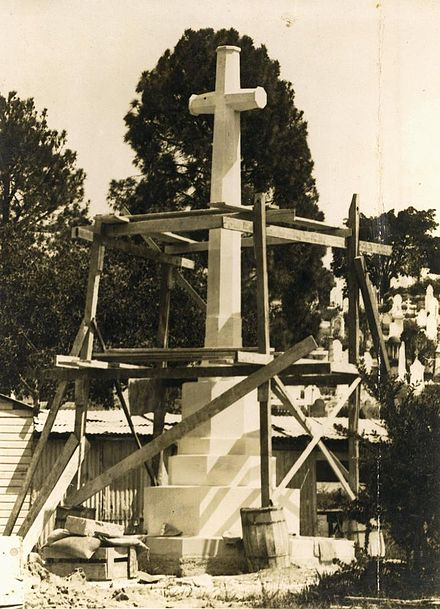 Cross of Sacrifice under construction at the Toowong Cemetery, Brisbane, Australia, in 1924 StateLibQld 2 254816 Cross of Sacrifice under construction at the Toowong Cemetery, Brisbane, 1924.jpg