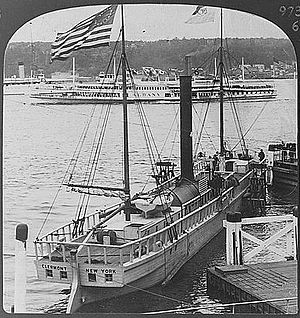 North River Steamboat - Clermont replica in New York harbor, 1910