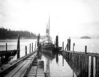 Loring, Alaska - S.S. Kayak, a steamship, entering the slip at a cannery dock in Loring, July 1904