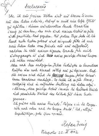 Forensic linguistics - Stefan Zweig Suicide Letter