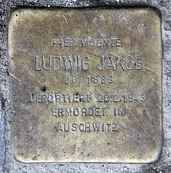 Photo of Ludwig Jakob brass plaque