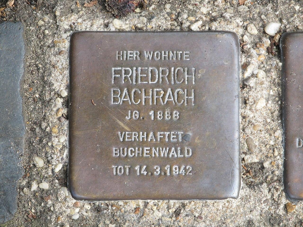 Stolperstein Friedrich Bachrach, 1, Wilhelm-Leuschner-Straße 47, Darmstadt.jpg