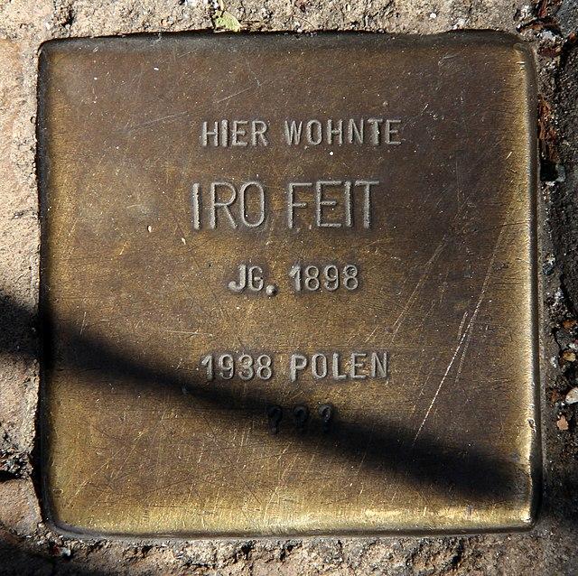 Photo of Iro Feit brass plaque