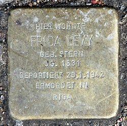 Photo of Frida Levy brass plaque