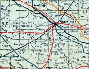 Hutchinson, Kansas - 1915 Railroad Map of Reno County