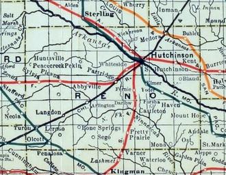 Hutchinson, Kansas - 1915 Railroad Map of Reno County
