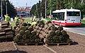 Strašnice, Průběžná, rekonstrukce TT, pokládka trávy (01).jpg