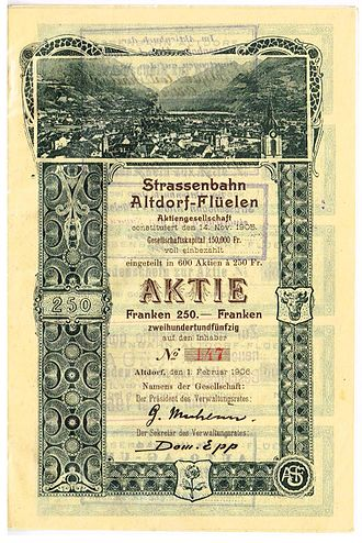 Altdorf–Flüelen tramway - Share of the Strassenbahn Altdorf-Flüelen AG, issued 1. February 1906