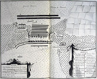 Battle of Wijnendale - Battleplan of the Battle of Wijnendale (1708) printed by Eugène Henri Fricx in Brussels