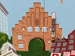 Stromkasten Nr 586, Nordergraben, Mit Flensburg-Motiven Nordetor, Rathaus, Wasserturm, Auguste-Viktoria-Schule sowie eine Maus, Bild 9.JPG