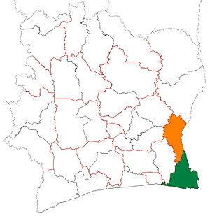 Sud-Comoé - Image: Sud Comoé region locator map Côte d'Ivoire