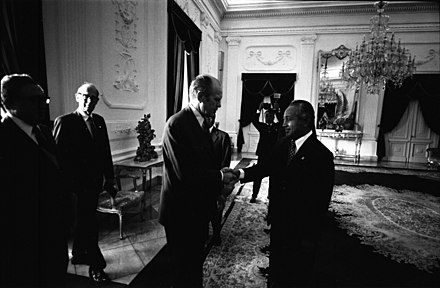 Suharto with Gerald Ford and Kissinger in Jakarta on 6 December 1975, one day before the Indonesian invasion of East Timor. Suharto, Ford, Newsom and Kissinger.jpg