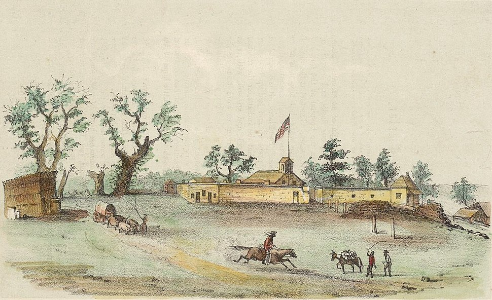 Sutter's Fort colored engraving 1849