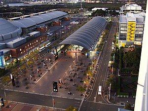 Olympic Park railway station, Sydney - Station front in June 2008