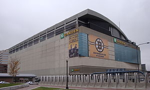 TD Garden seen from the Rose Kennedy Greenway in 2009
