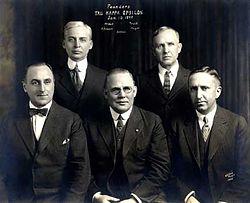 The five founders of Tau Kappa Epsilon. Clockwise from top left: James Carson McNutt, Owen Ison Truitt, Clarence Arthur Mayer, Joseph Lorenzo Settles, Charles Roy Atkinson