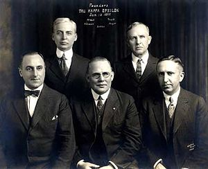 Tau Kappa Epsilon - The five founders of Tau Kappa Epsilon. Clockwise from top left: James Carson McNutt, Owen Ison Truitt, Clarence Arthur Mayer, Joseph Lorenzo Settles, Charles Roy Atkinson