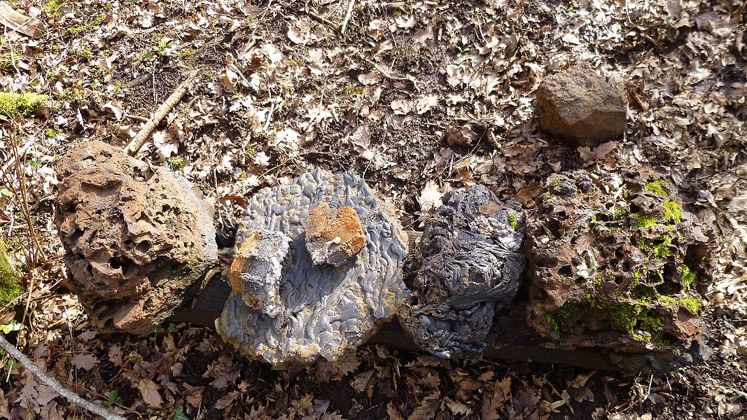 "The ""ferrier"", Tannerre-en-Puisaye, Yonne, Burgundy, France. Sample of slag produced on site."