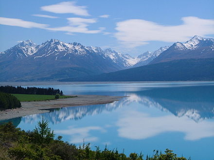 Lake Pukaki looking to the Southern Alps of New Zealand Tasman Valley - Aoraki Mount Cook - Canterbury.jpg