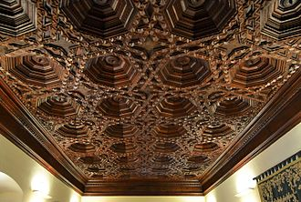 Mudéjar - Ceiling of Mudéjar carpentry, Segorbe town hall (former ducal palace), Valencia Region