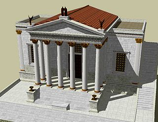 Temple of Concord building in Rome, Italy