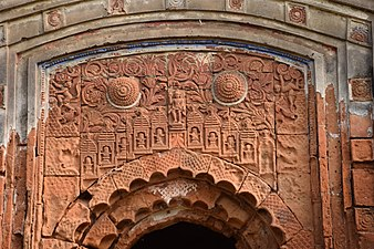 Terracotta panels on arch of Aatchala temple in a cluster of three temples at Masagram of Purba Bardhaman district in West Bengal.jpg