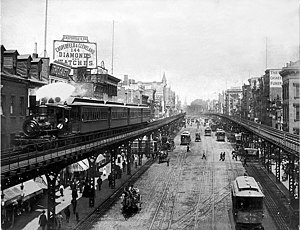 Stephen Crane - A steam train on the Third Avenue El over the Bowery in 1896