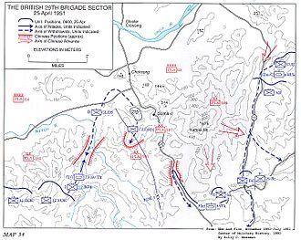Belgian United Nations Command - The British 29th Brigade Sector during the Battle of the Imjin River, 25 April 1951. The positions of the Belgian battalion are also marked at the bottom.