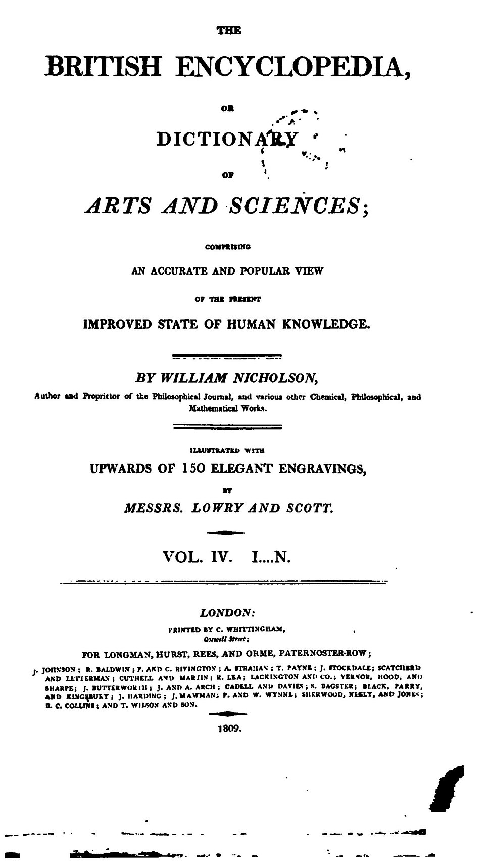 The British Encyclopaedia, or Dictionary of Arts and Sciences, 1809, Vol 4