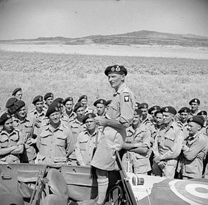 1st Canadian Armoured Brigade - General Sir Bernard Montgomery, commander of the British Eighth Army, addresses officers and men of the 11th Canadian Tank Regiment (Ontario Regiment) near Lentini, Sicily, 25 July 1943.