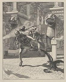 Illustration titled The Flight of Adrammelech depicting Arda-Mulissu and Nabu-shar-usur escaping after murdering Sennacherib.