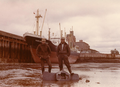 The German cargo ship Sabine Howaldt in the tidal harbor from Walton, Nova Scotia, Canada - 1958.png