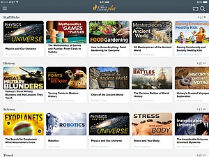"Video on demand - A screenshot of ""The Great Courses Plus"", a subscription video on demand service offered by The Teaching Company that offers instructional videos."
