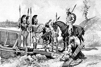 European Scythian campaign of Darius I - The Greeks of Histiaeus preserve the bridge of Darius I across the Danube river. 19th century illustration.