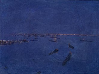Port Edgar - Image: The Lights of Rosyth From the Forth Bridge Footpath. Port Edgar and the Fleet. Art.IWMART631