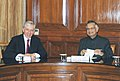 The MP, Lord Chancellor and Secretary of the State for Justice of UK , Mr. Jack Straw meeting with the Union Home Minister, Shri Shivraj V. Patil, in New Delhi on September 15, 2008.jpg