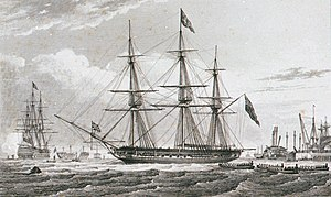 The Mayor and Corporation of Portsmouth, going on board the Yacht ('Royal Sovereign'), with an Address Augt 2d 1827 RMG PU6493 (cropped).jpg