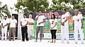 The Minister of State for Youth Affairs & Sports and Information & Broadcasting (IC), Col. Rajyavardhan Singh Rathore addressing on the occasion of the 4th International Day of Yoga 2018, at Jheel Park Welcome Metro Station.JPG