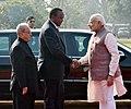 The President of Kenya, Mr. Uhuru Kenyatta being received by the President, Shri Pranab Mukherjee and the Prime Minister, Shri Narendra Modi, at the ceremonial reception, at Rashtrapati Bhavan, in New Delhi.jpg