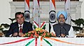 The Prime Minister, Dr. Manmohan Singh and the President of the Republic of Tajikistan, Mr. Emomali Rahmon, at the Joint Press Statement, in New Delhi on September 03, 2012.jpg